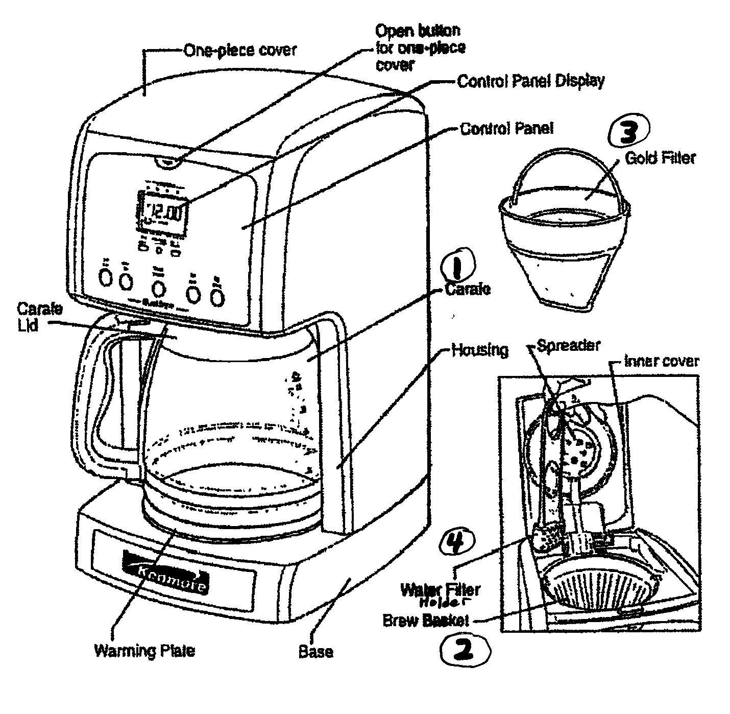 hight resolution of coffee maker diagram and parts list for kenmore coffeemakerparts