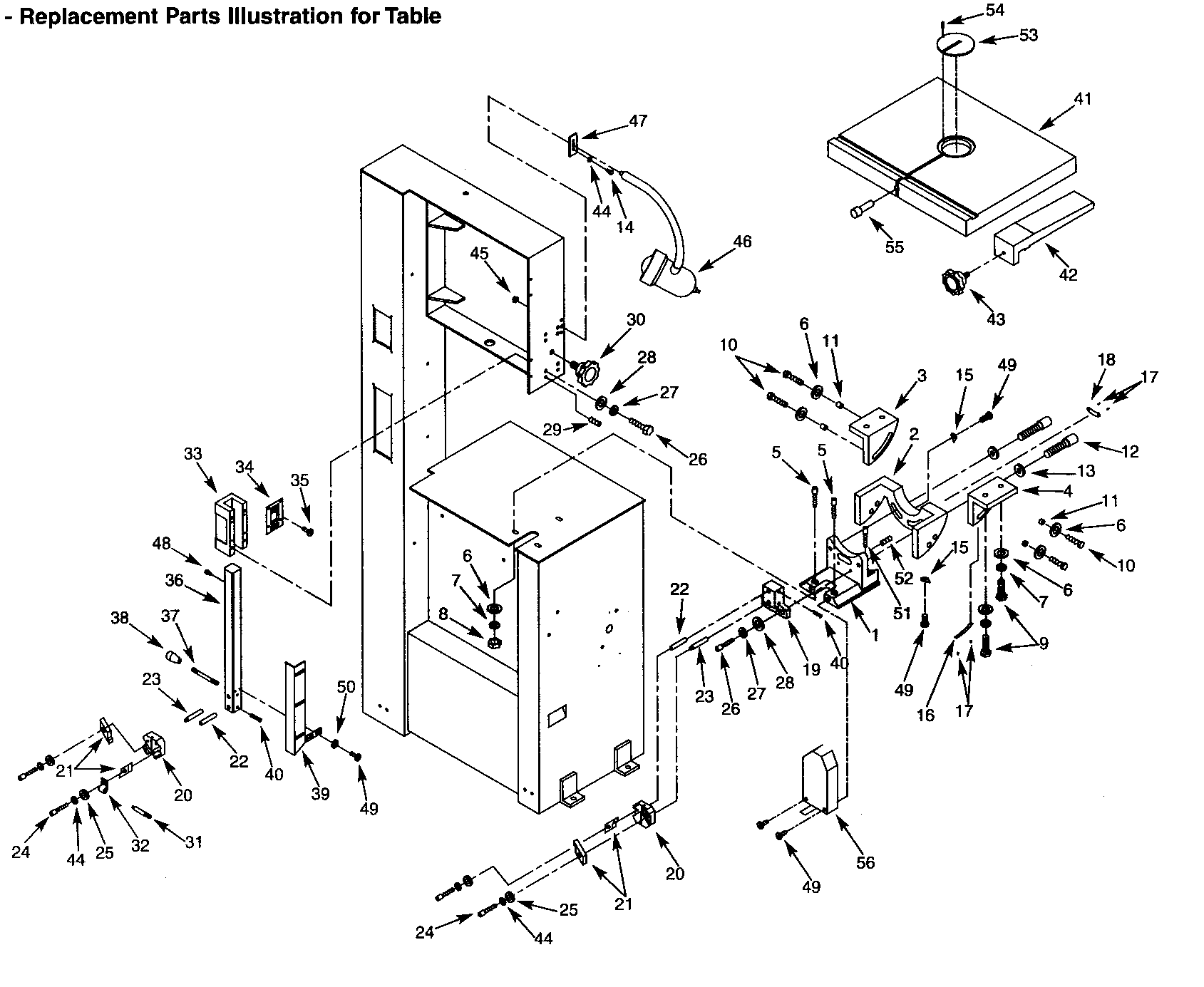 TABLE ASSY Diagram & Parts List for Model 351214300
