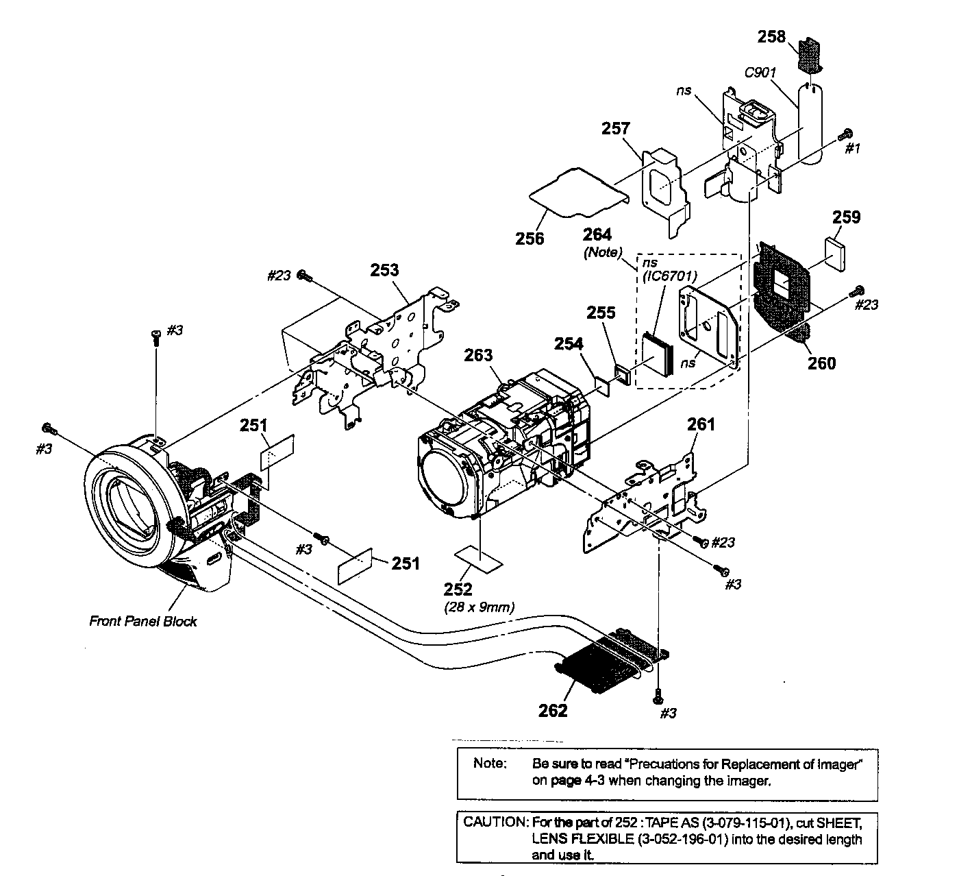 FRONT PANEL/LENS Diagram & Parts List for Model HDRHC9
