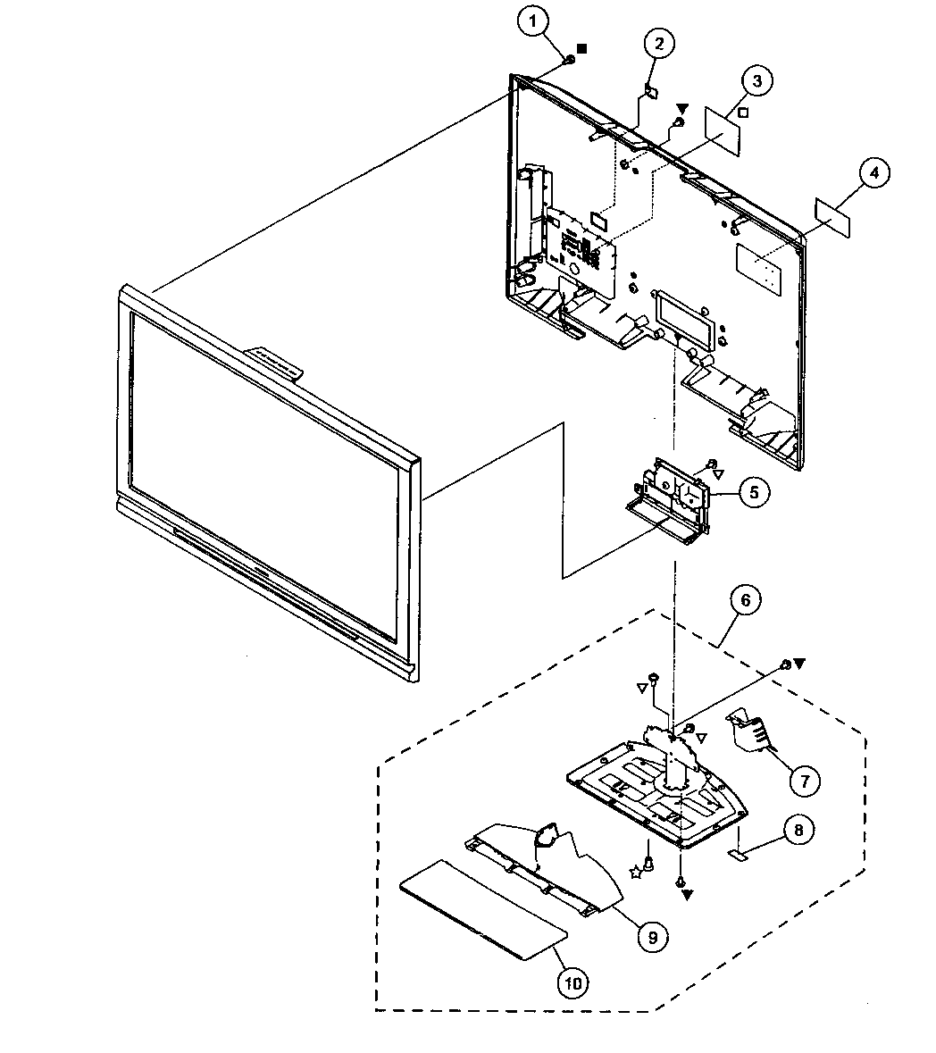 REAR COVER/STAND ASSY Diagram & Parts List for Model