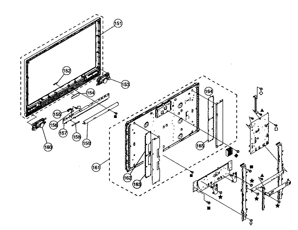 BEZEL/LCD PANEL ASSY Diagram & Parts List for Model KDL