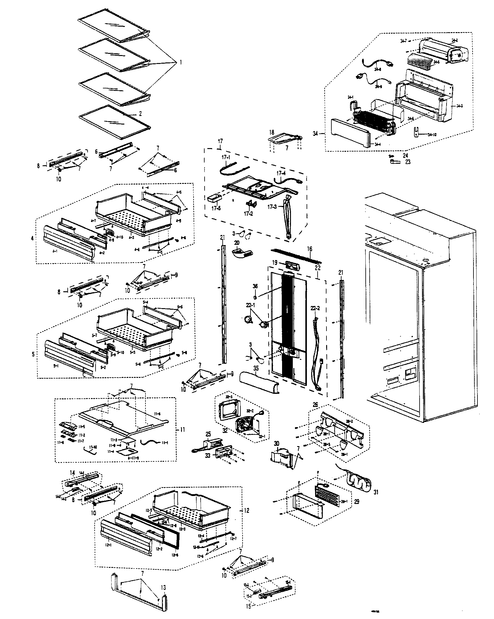 REFRIGERATOR ROOM Diagram & Parts List for Model