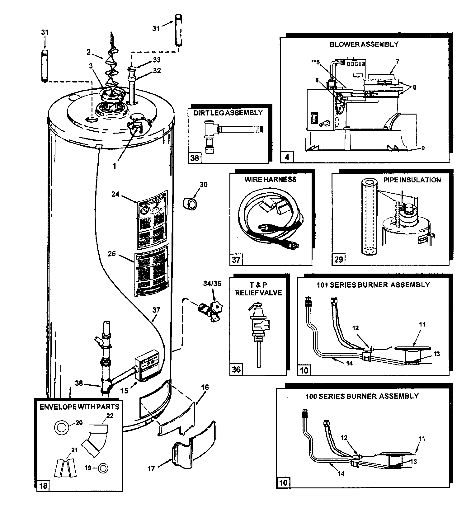 WATER HEATER Diagram & Parts List for Model pr650ccvit2