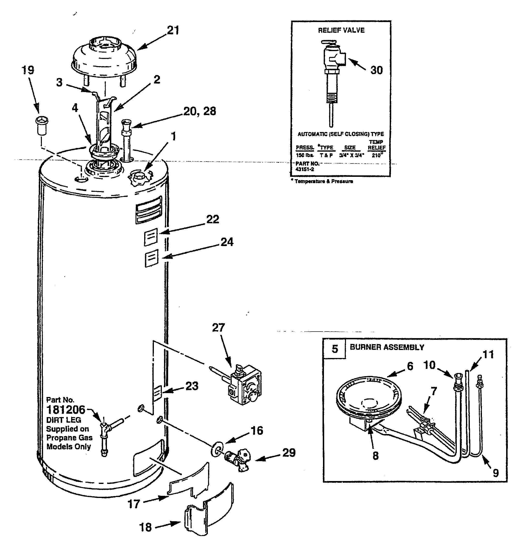 WATER HEATER Diagram & Parts List for Model FSG50232