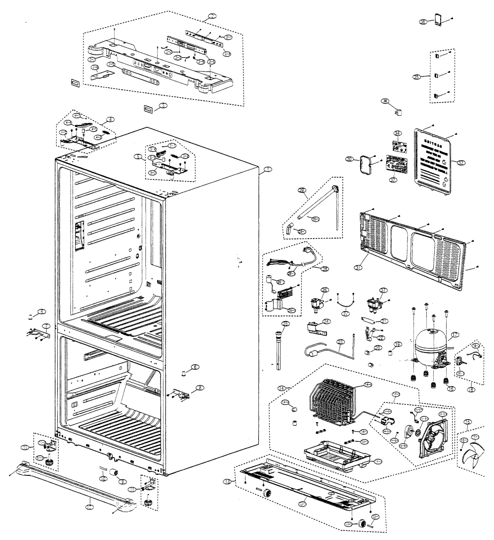 medium resolution of samsung model rf266abpn xaa bottom mount refrigerator genuine parts samsung dryer parts diagram samsung refrigerator diagram