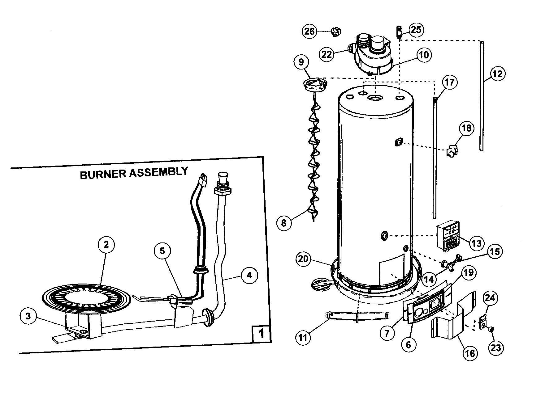 WATER HEATER Diagram & Parts List for Model 153332040
