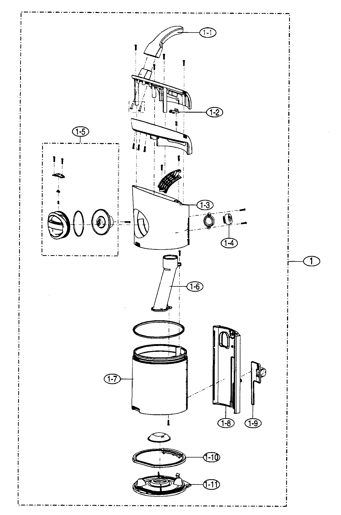 CYCLONE ASSY Diagram & Parts List for Model 40139030