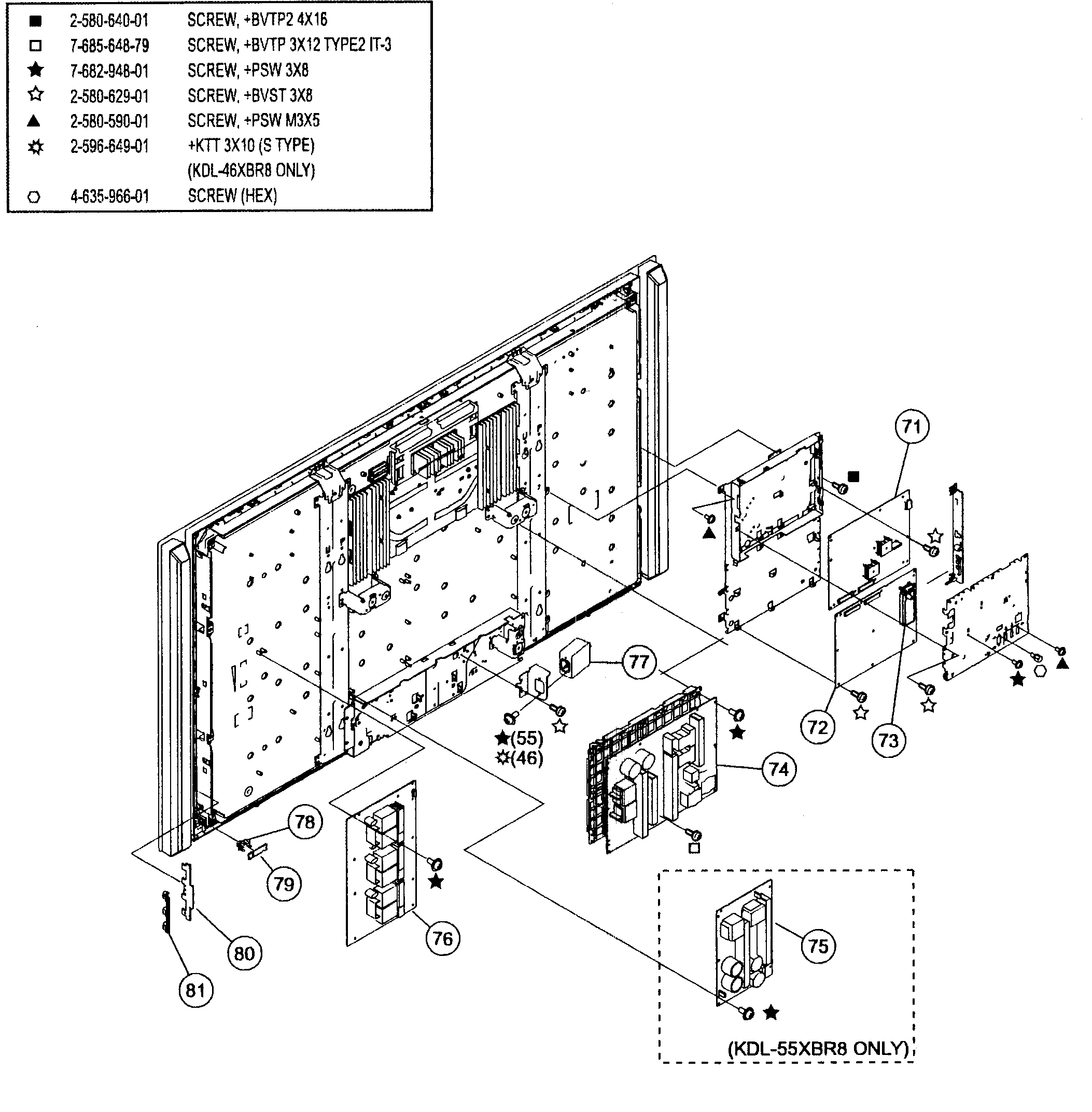 CHASSIS 2 Diagram & Parts List for Model kdl46xbr8 Sony