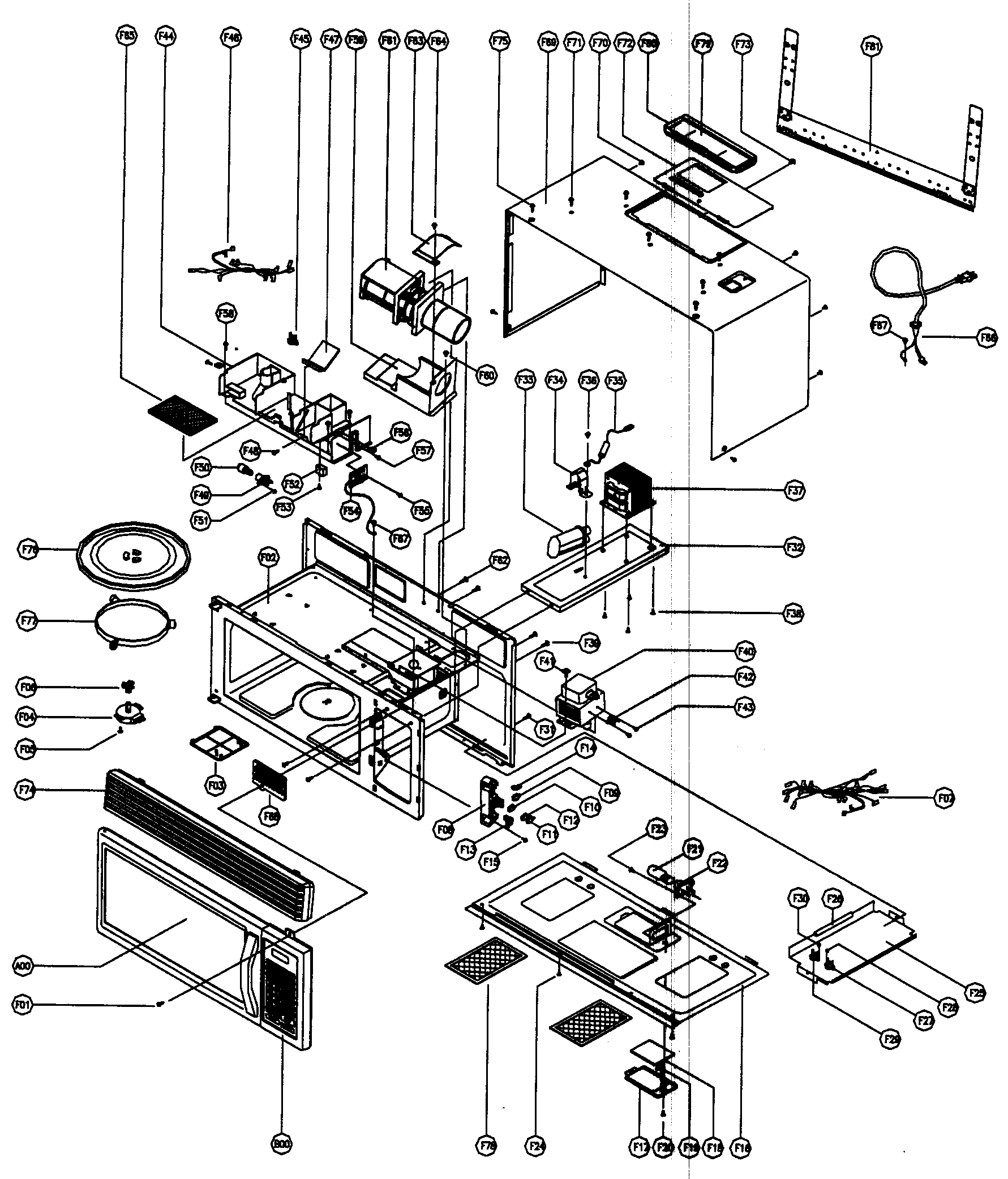 CABINET PARTS Diagram & Parts List for Model mco160ub