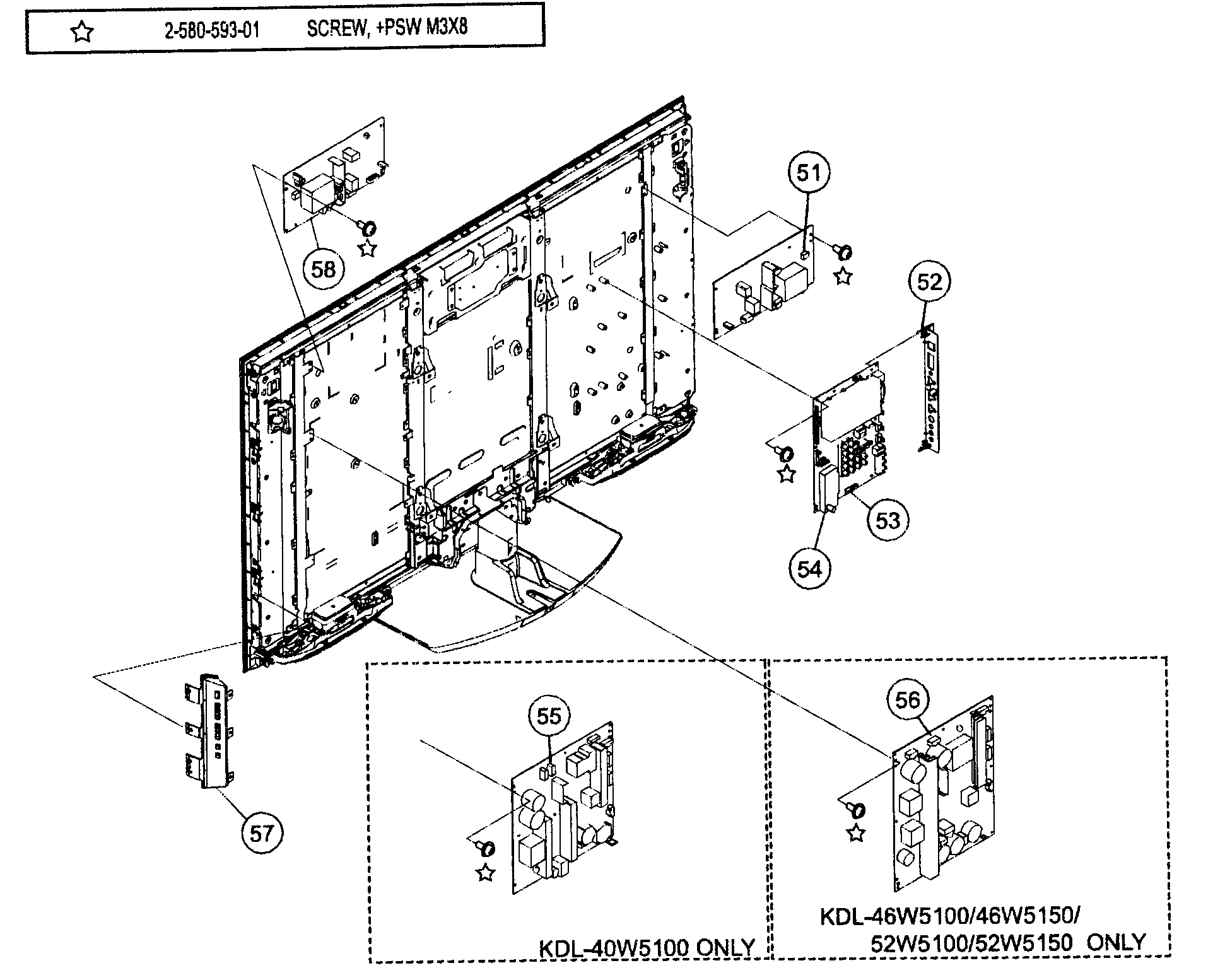 CHASSIS Diagram & Parts List for Model kdl-46w5100 Sony