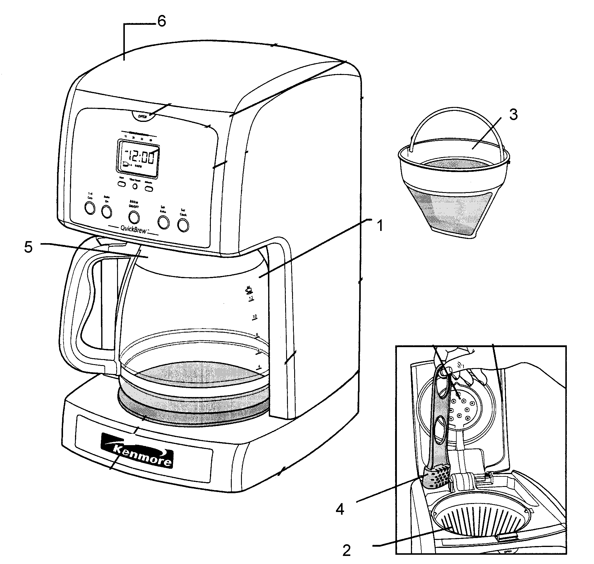 COFFEE MAKER Diagram & Parts List for Model 10082696