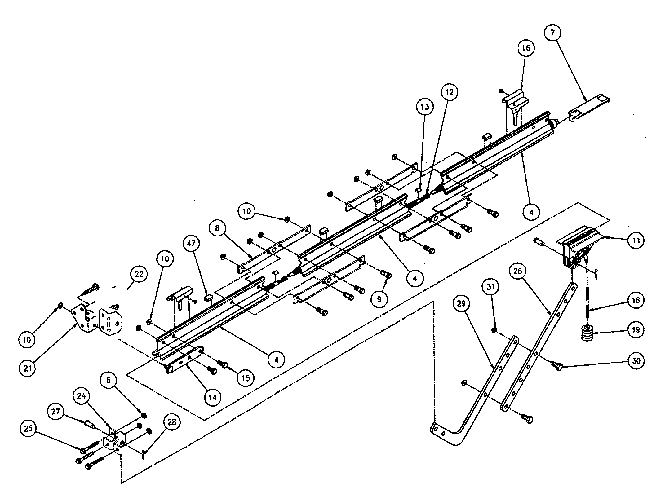 RAIL ASSY Diagram & Parts List for Model is8502m Genie