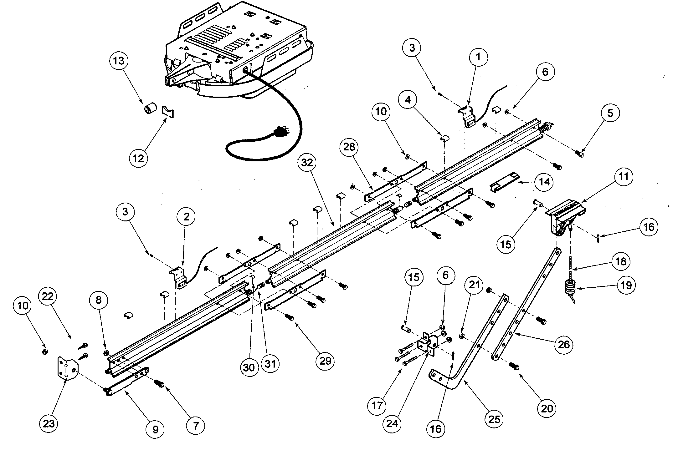 RAIL ASSY Diagram & Parts List for Model ISD995 Genie