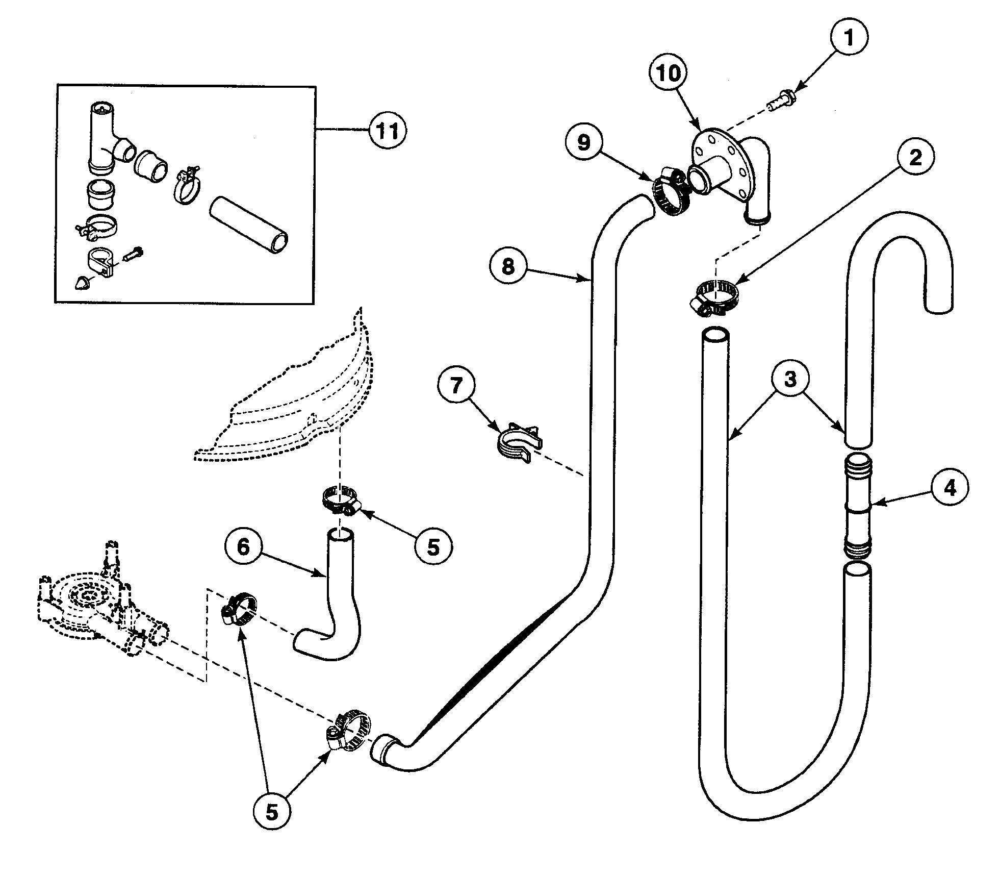 DRAIN HOSES Diagram & Parts List for Model swt110wm Speed