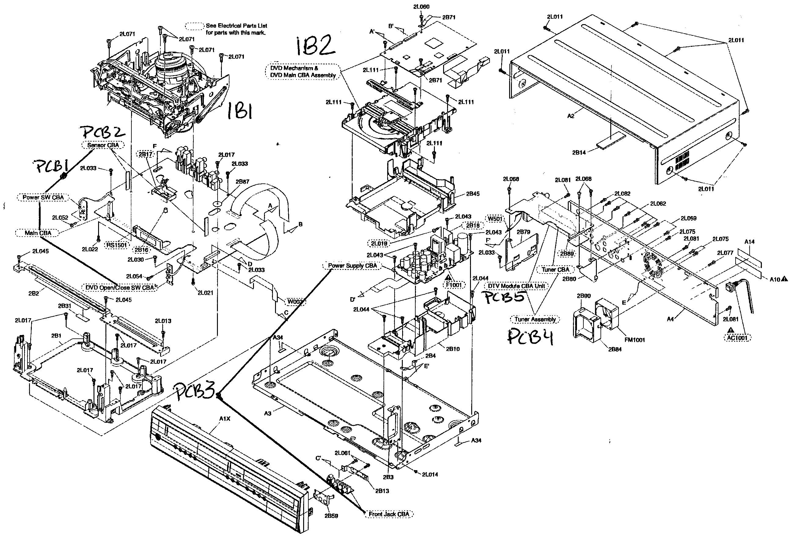 CABINET ASSY Diagram & Parts List for Model ZV457MG9