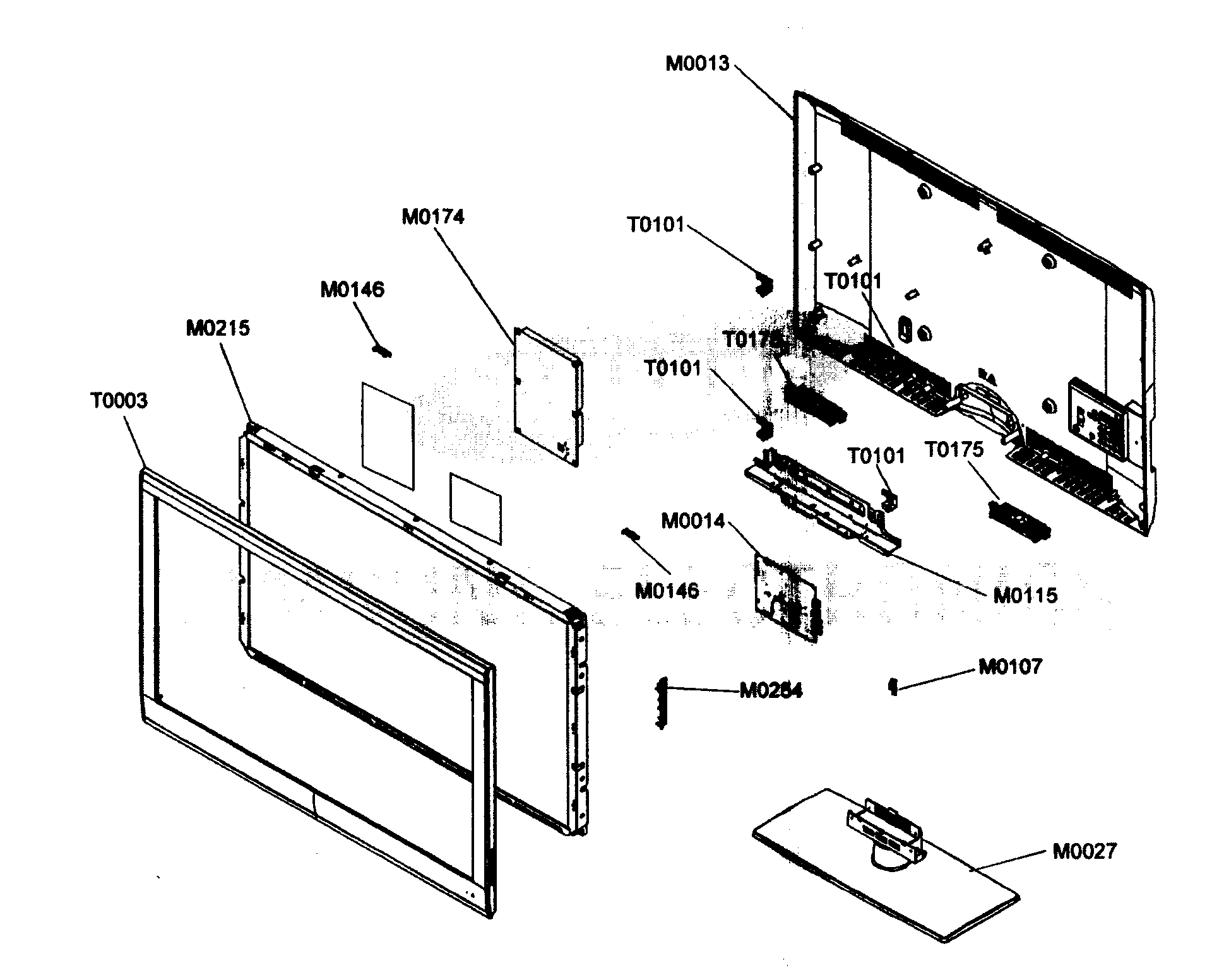 hight resolution of samsung ln46b500p3fxza cabinet parts diagram