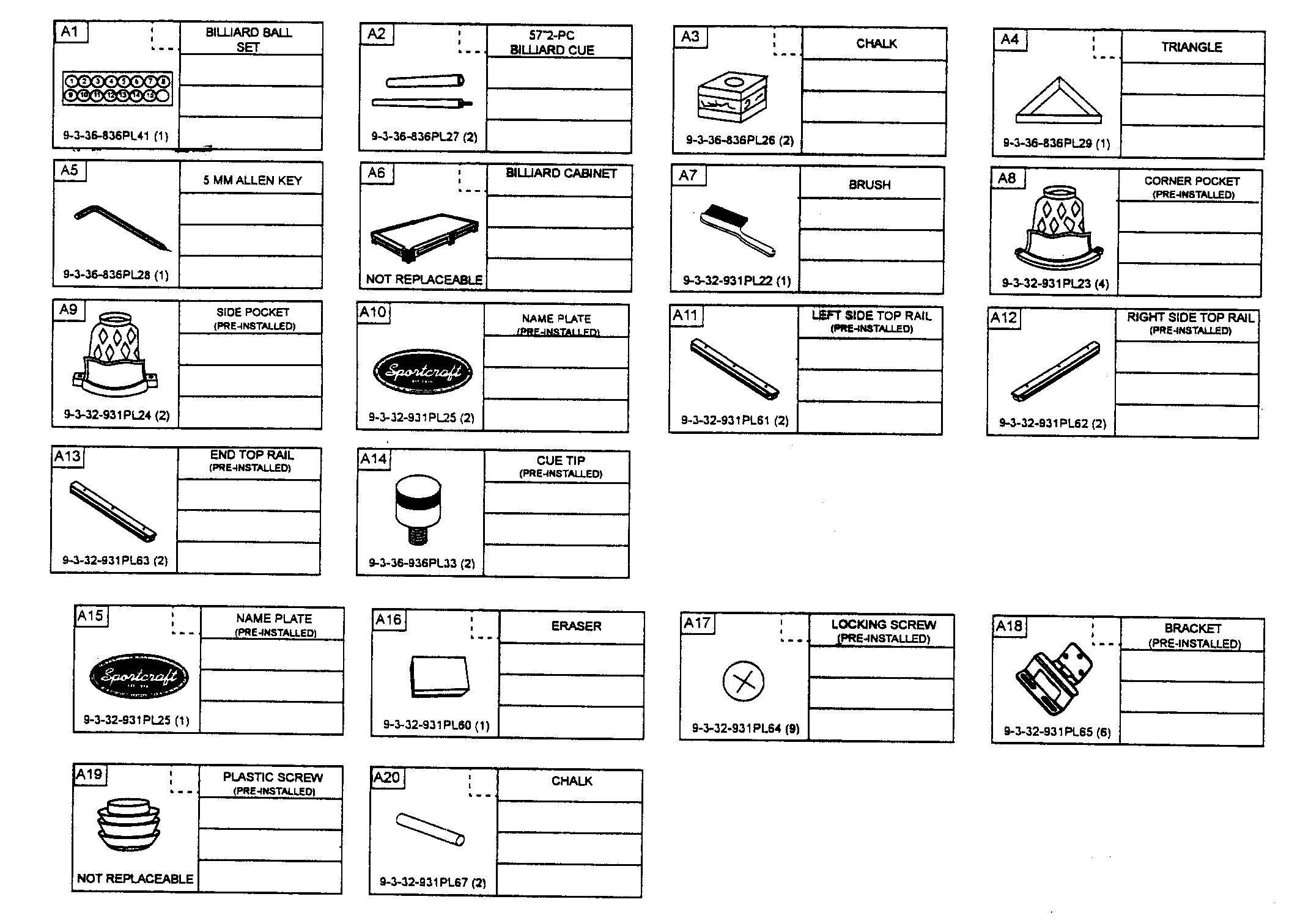 ACCESSORIES Diagram & Parts List for Model 1132931pl