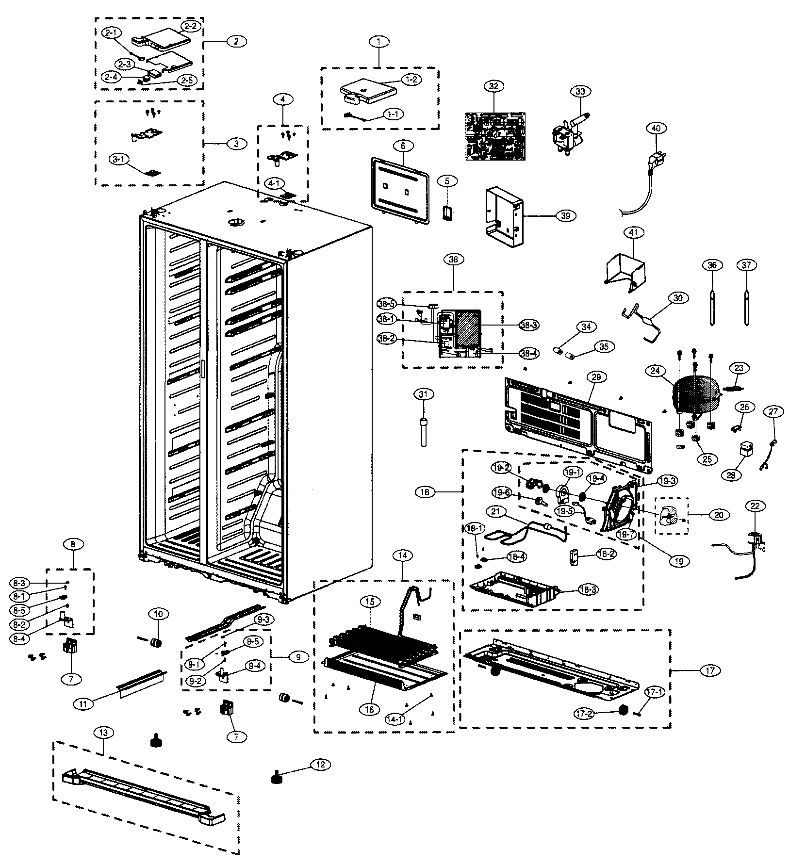CABINET Diagram & Parts List for Model 40141009900 Kenmore