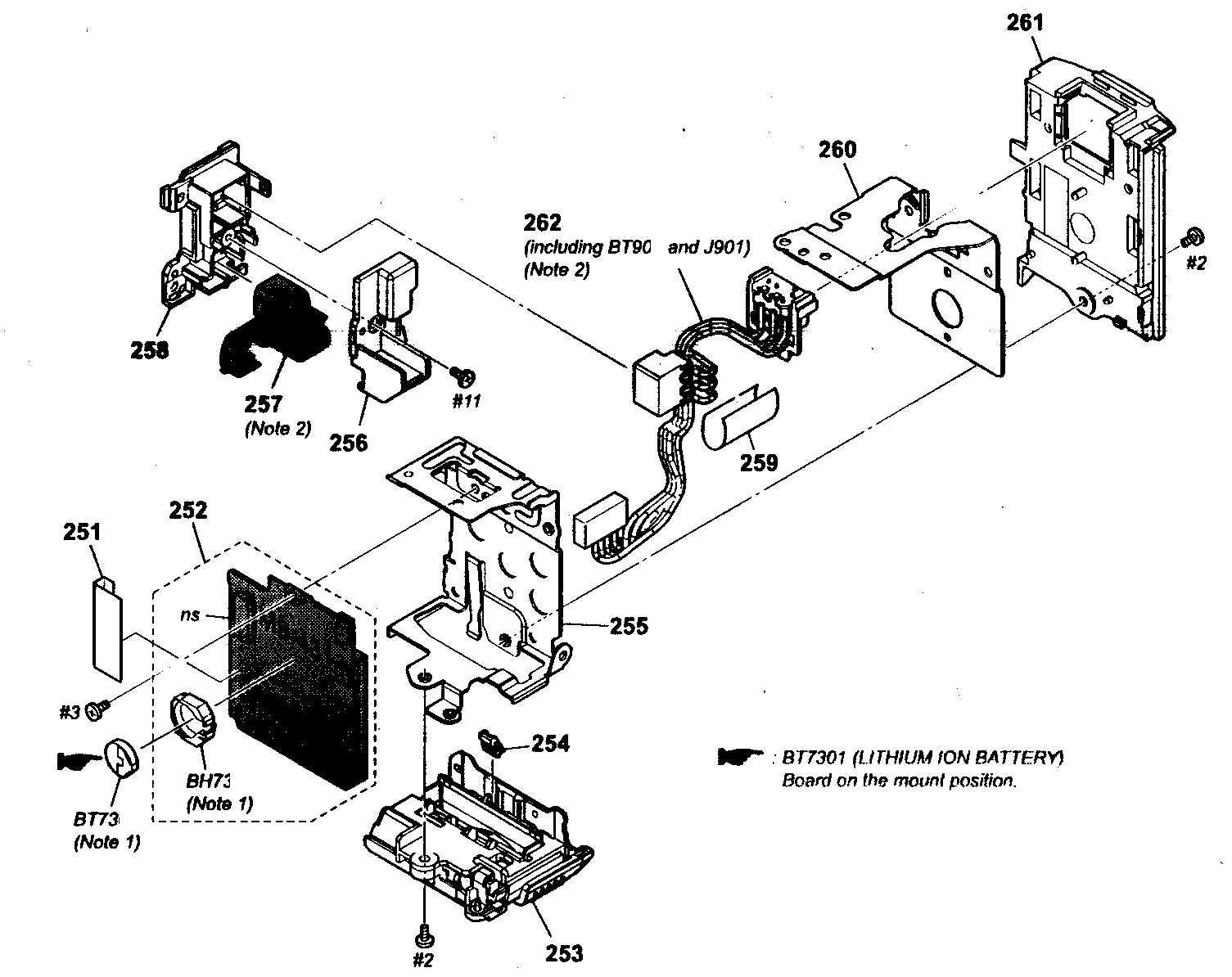 REAR SECTION Diagram & Parts List for Model hdrcx150 Sony