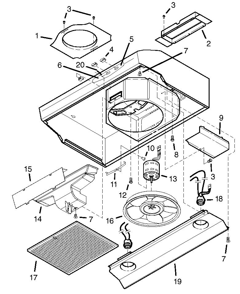 RANGE HOOD Diagram & Parts List for Model qs136ww Broan
