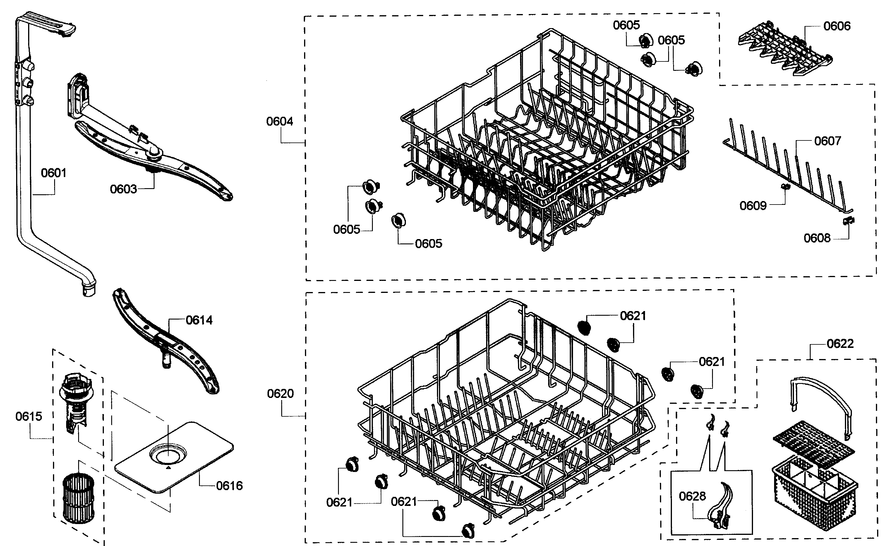 BASKETS Diagram & Parts List for Model 63013909010 Kenmore