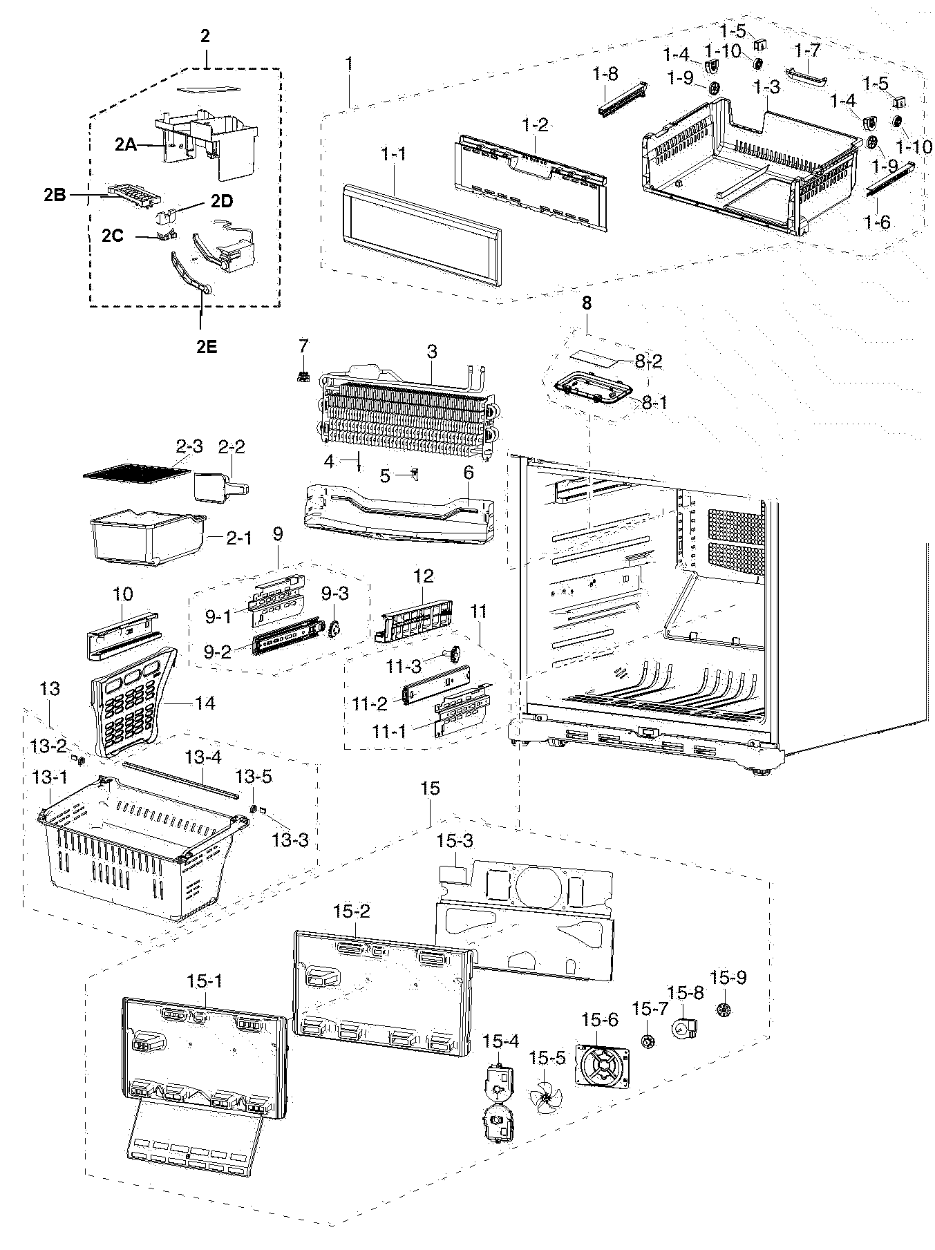 hight resolution of samsung rf217acbp xaa 00 freezer assy diagram