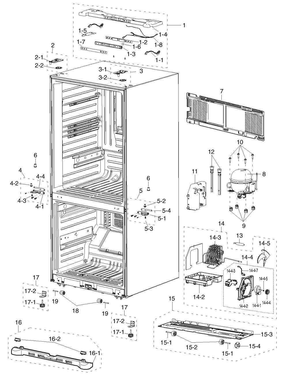 medium resolution of samsung rf217acbp xaa 00 cabinet diagram