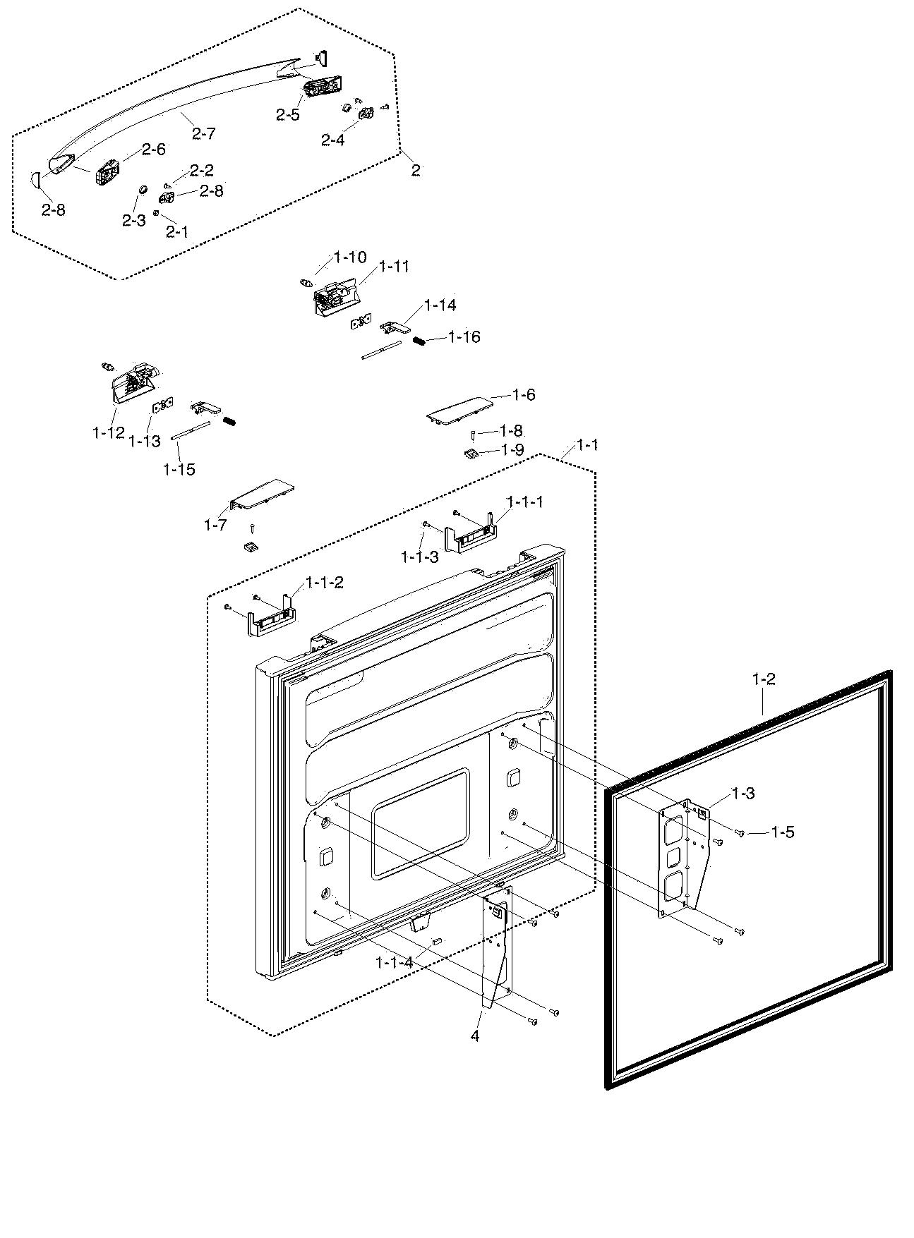 hight resolution of samsung rf217acbp xaa 00 freezer door diagram