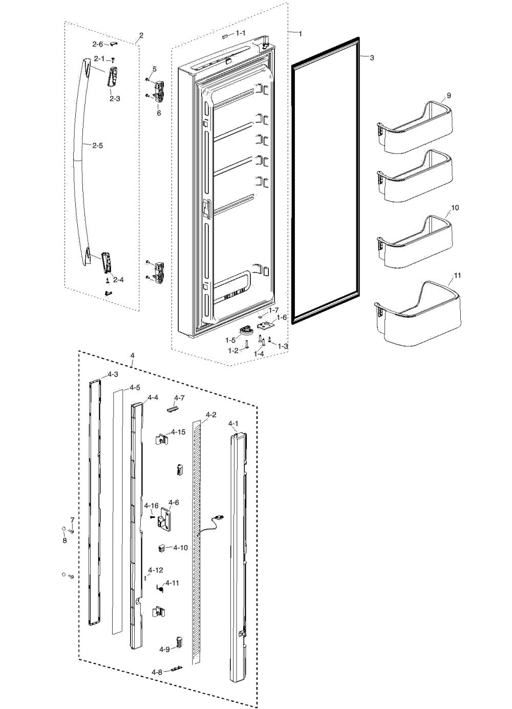 medium resolution of samsung rf217acbp xaa 00 refrig l door diagram