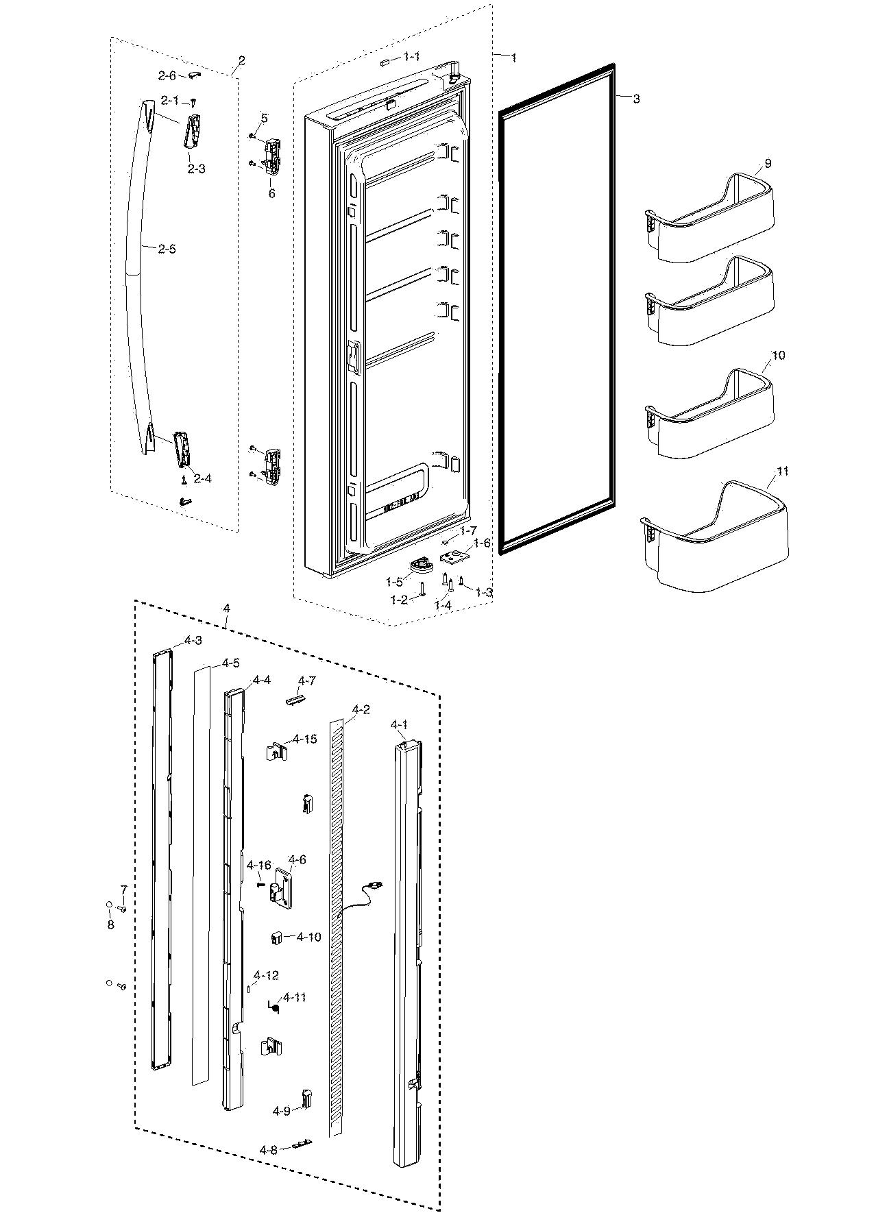 hight resolution of samsung rf217acbp xaa 00 refrig l door diagram