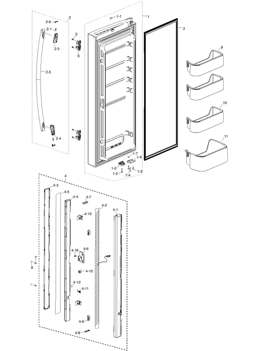 small resolution of samsung rf217acbp xaa 00 refrig l door diagram