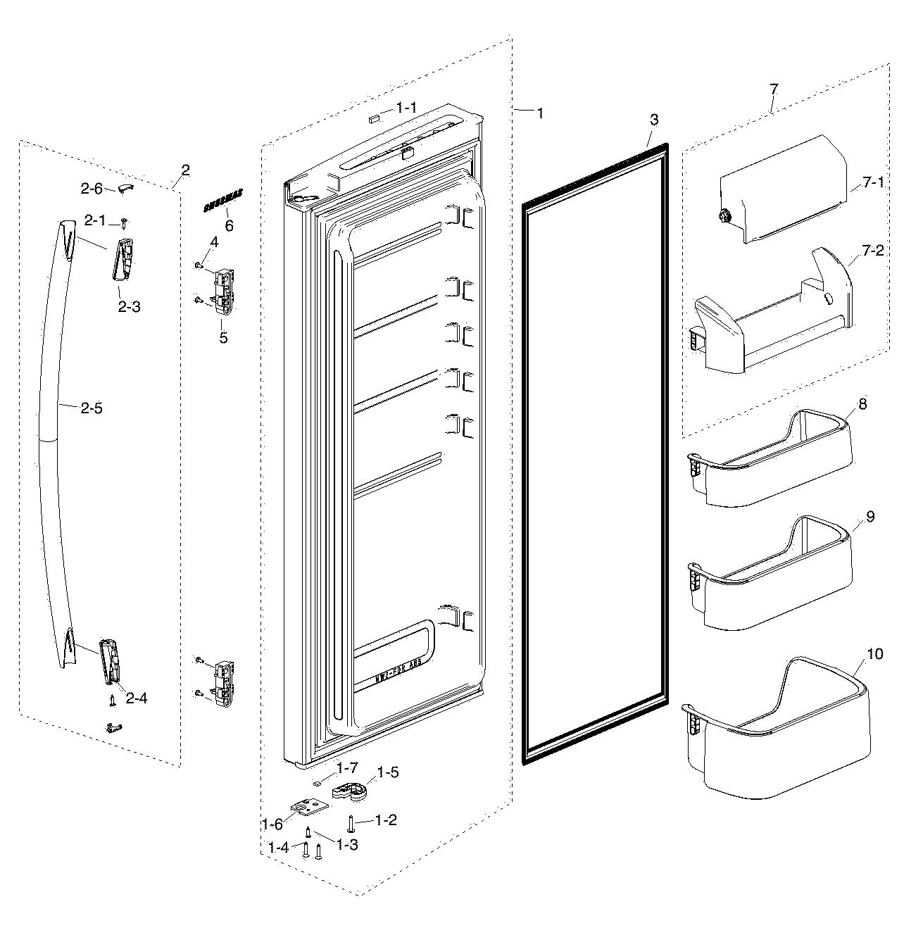 hight resolution of samsung rf217acbp xaa 00 refrig r door diagram