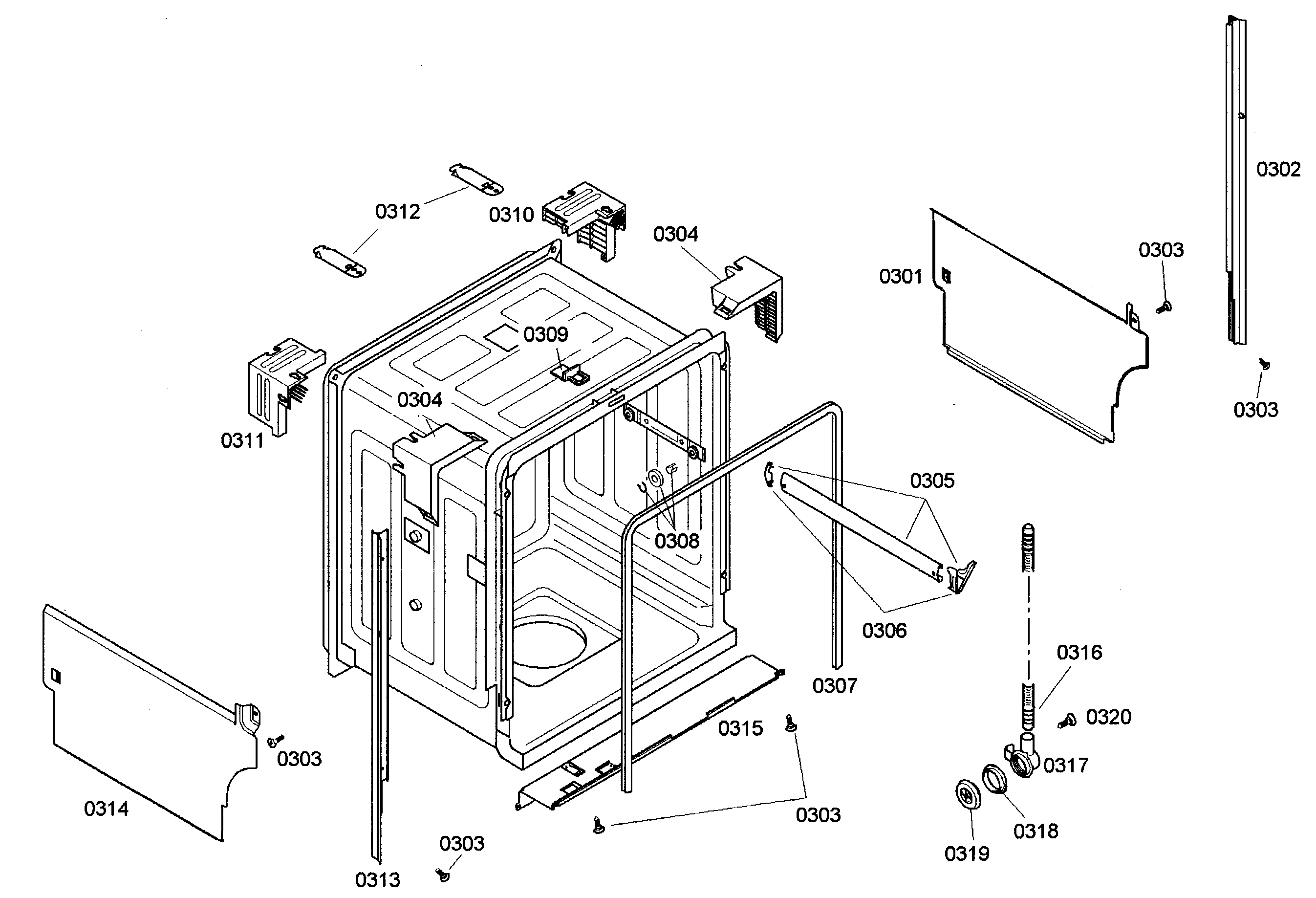 CABINET Diagram & Parts List for Model she44c06uc40 Bosch
