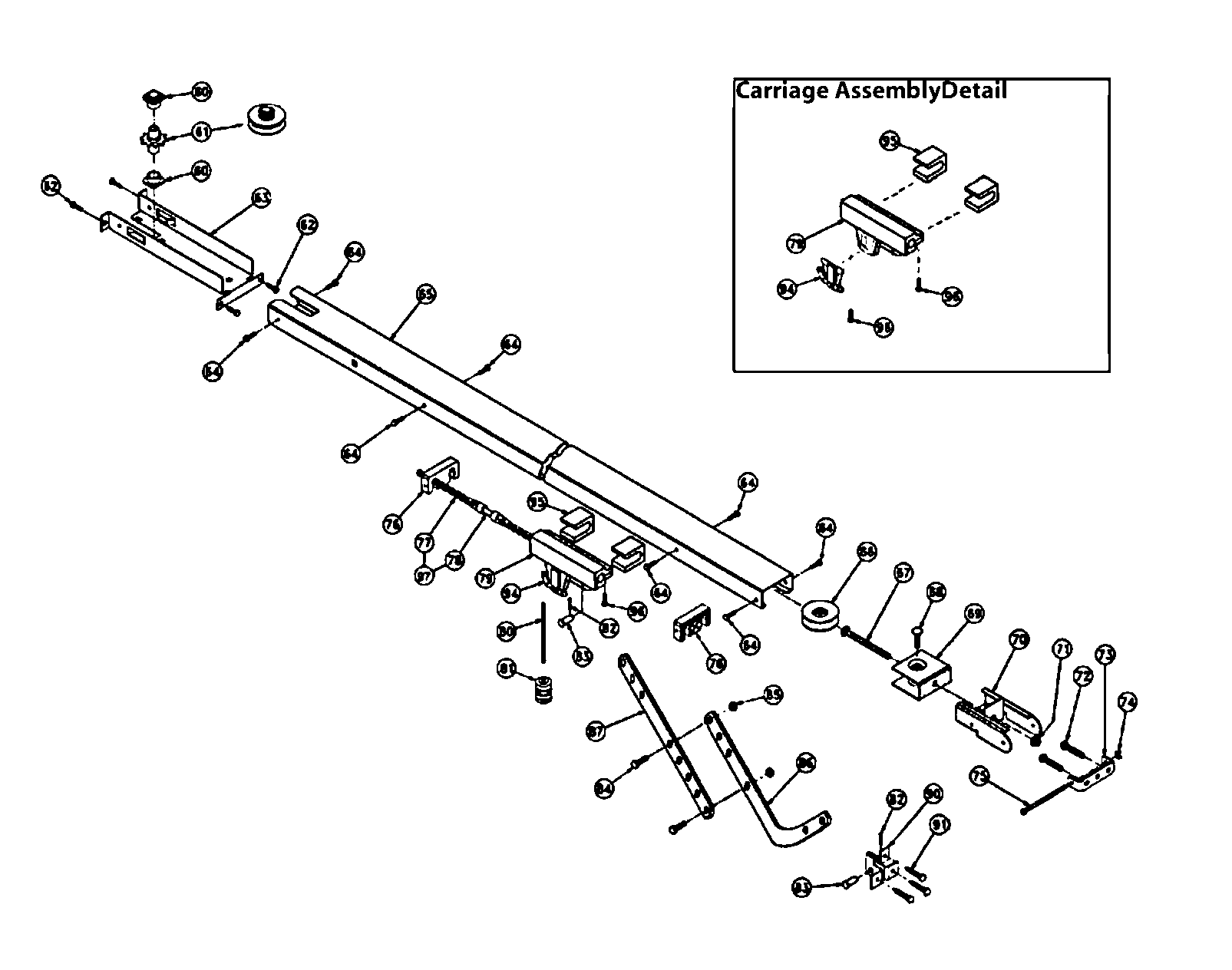 genie garage door parts diagram 2002 mitsubishi lancer oz rally radio wiring belt drive and list for model pmx500icb