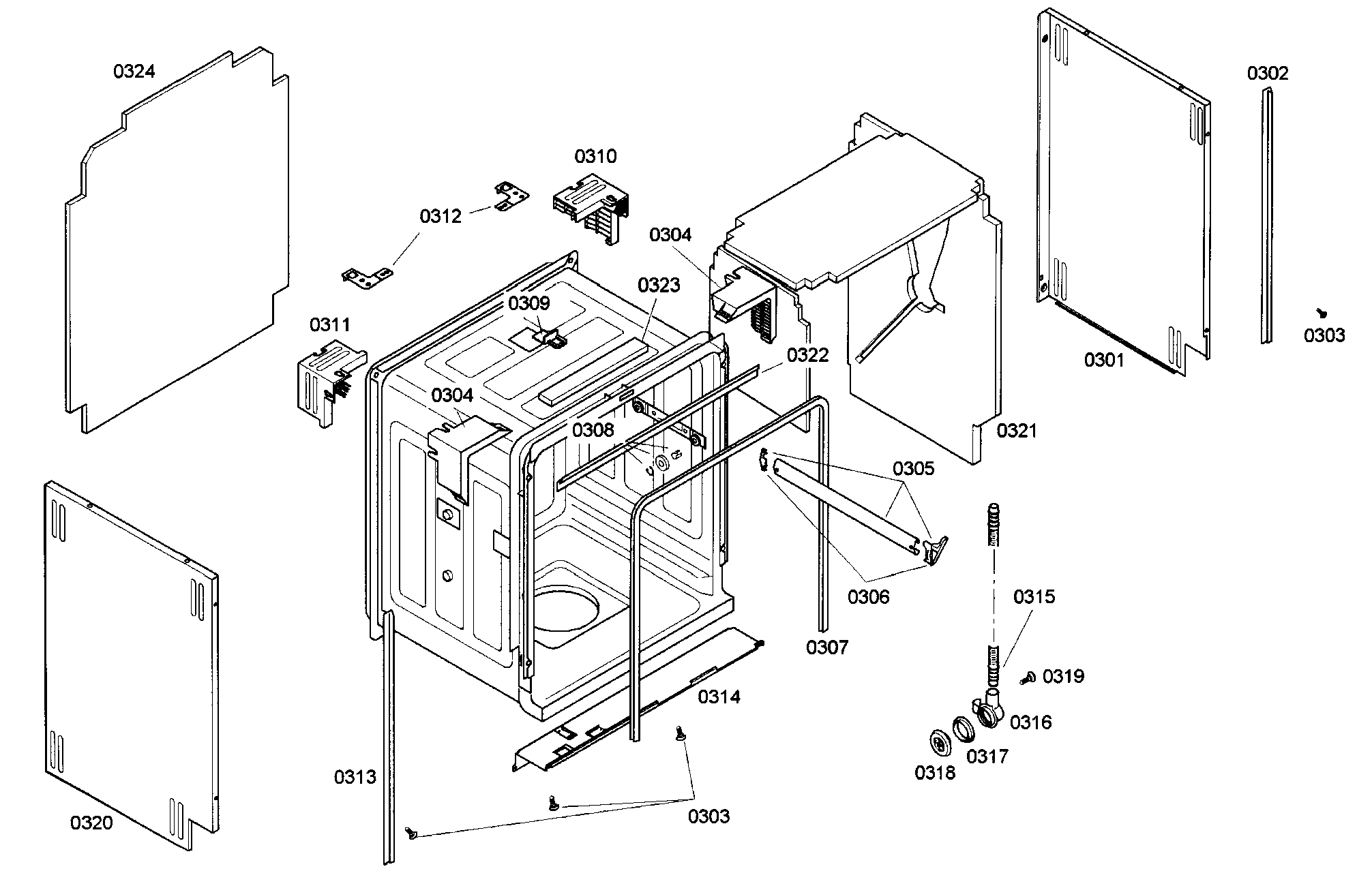 CABINET ASSY Diagram & Parts List for Model 63016304404