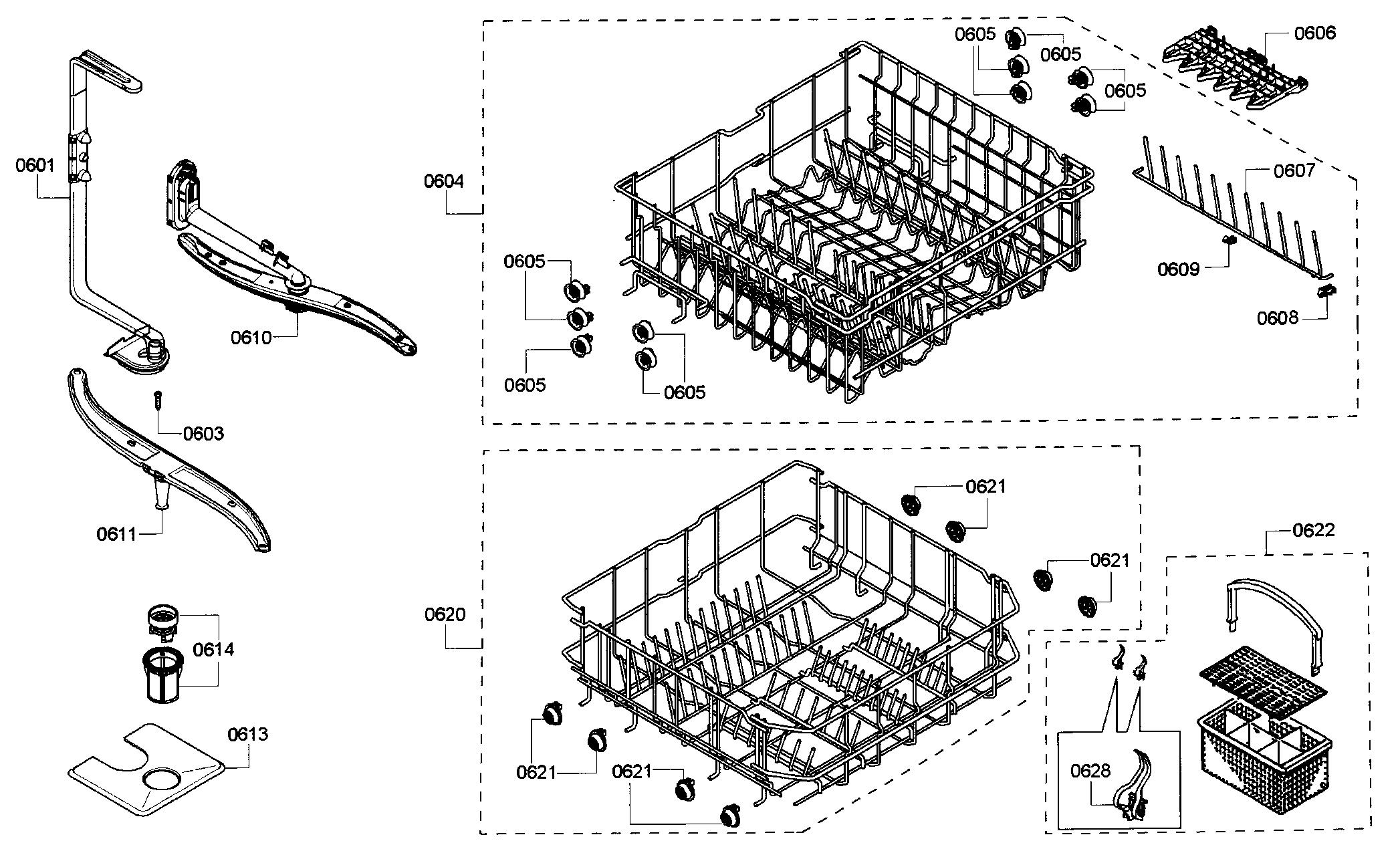 RACK ASSY Diagram & Parts List for Model 63077933010