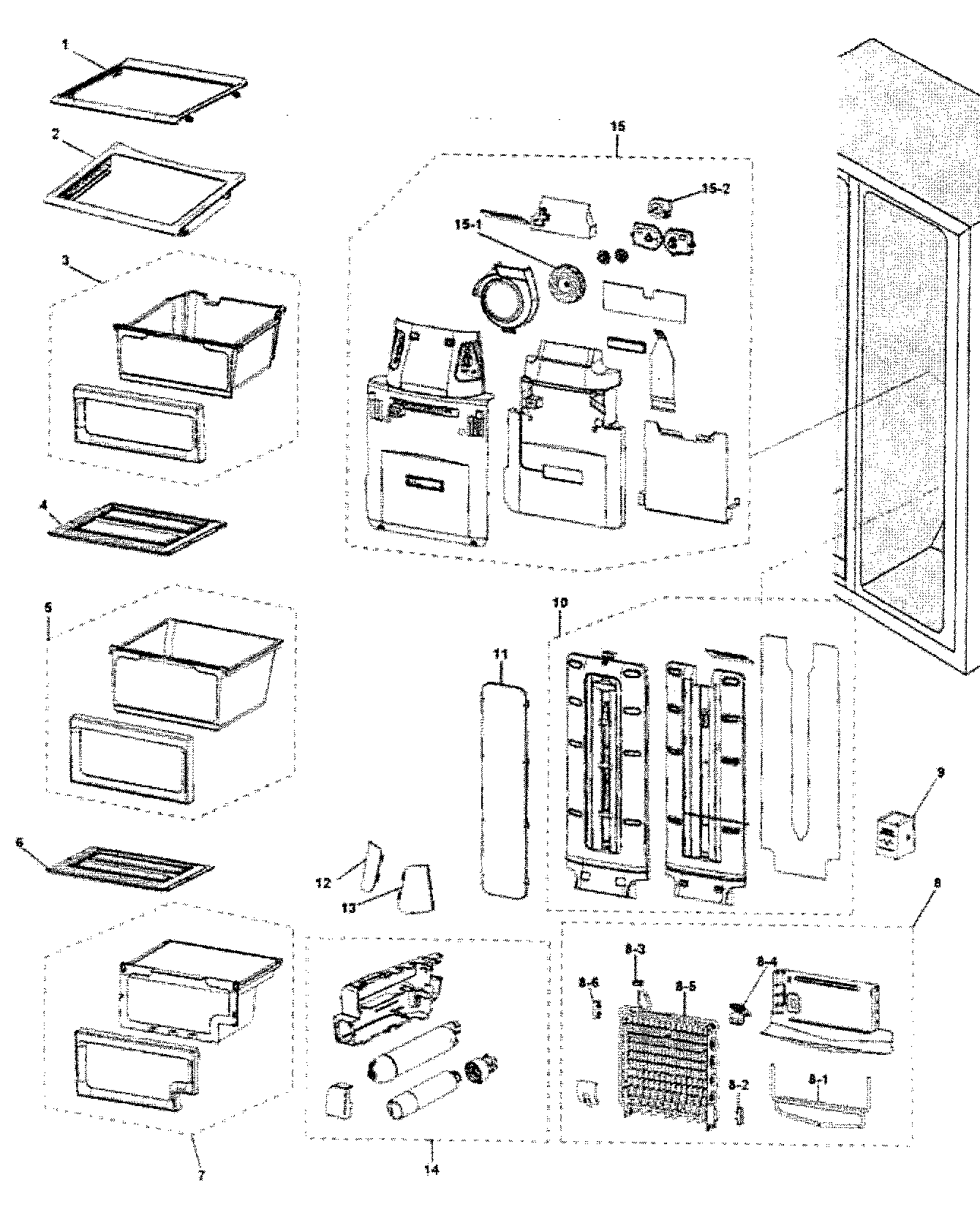 REFRIGERATOR Diagram & Parts List for Model rs263tdrsxaa