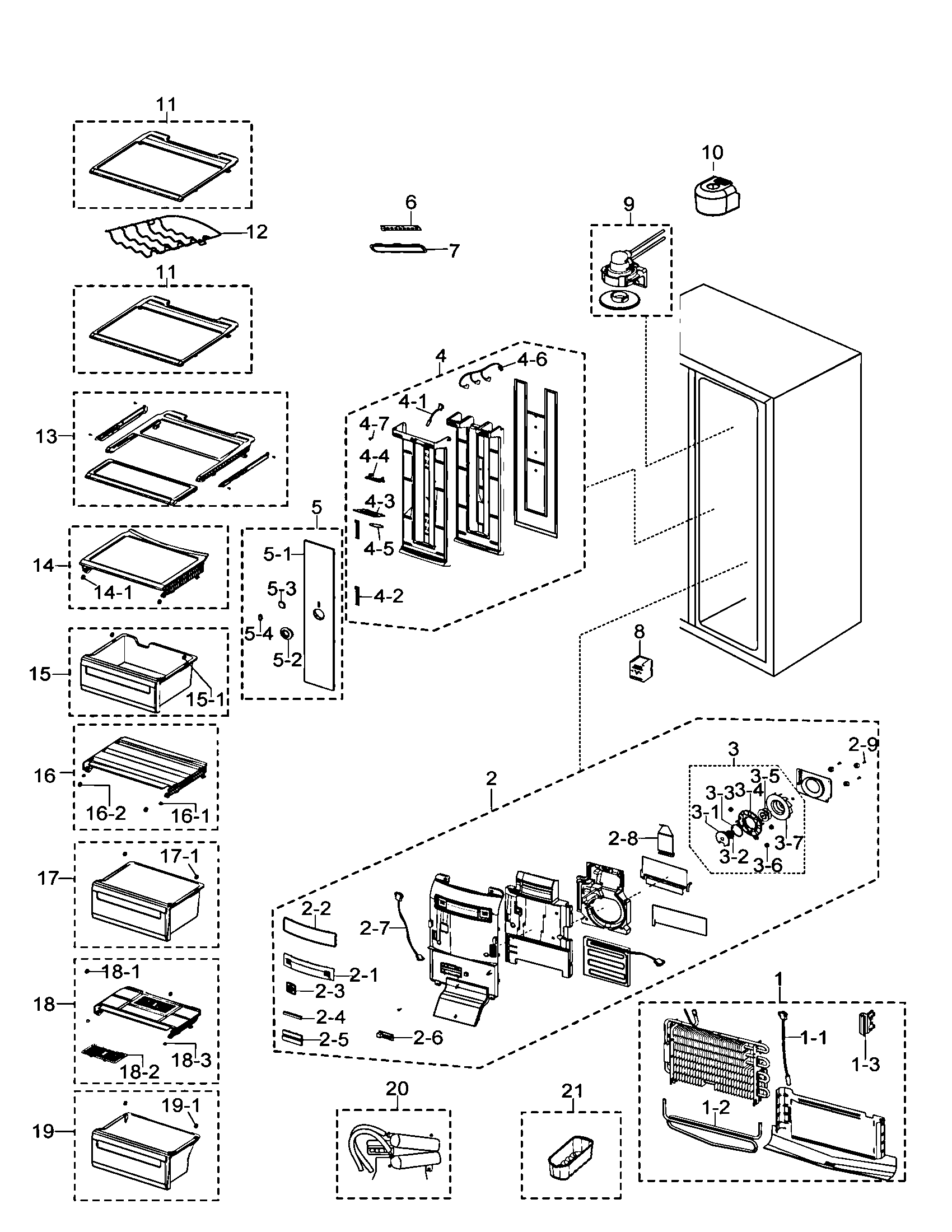 REFRIGERATOR Diagram & Parts List for Model