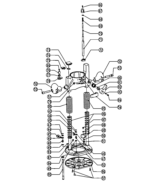PLUNGE BASE Diagram & Parts List for Model 32027683