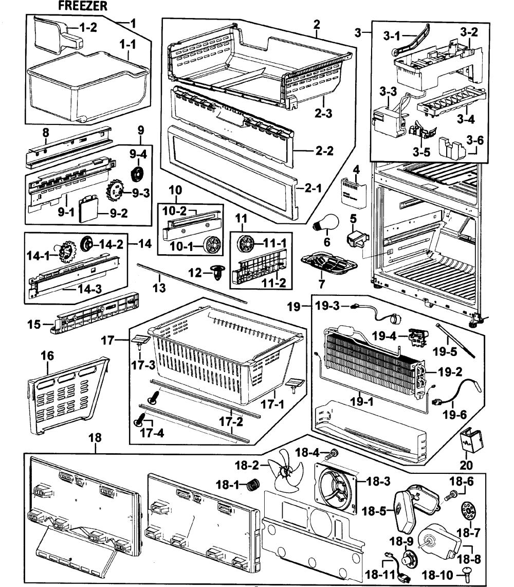 medium resolution of samsung rf265abwp xaa 00 freezer diagram