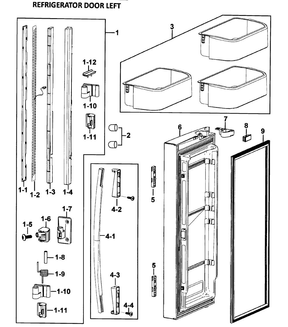medium resolution of samsung rf265abwp xaa 00 left door diagram