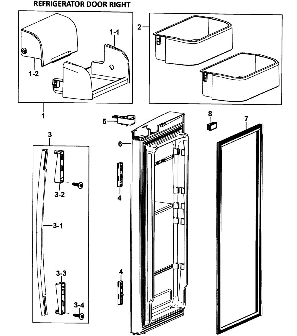 medium resolution of samsung rf265abwp xaa 00 right door diagram
