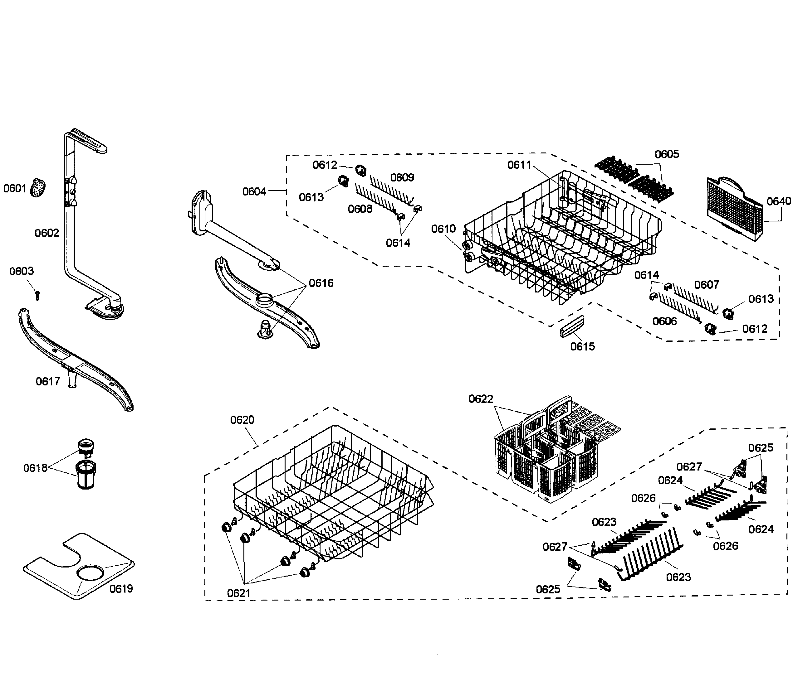 BASKETS Diagram & Parts List for Model SHE55C05UC50 Bosch