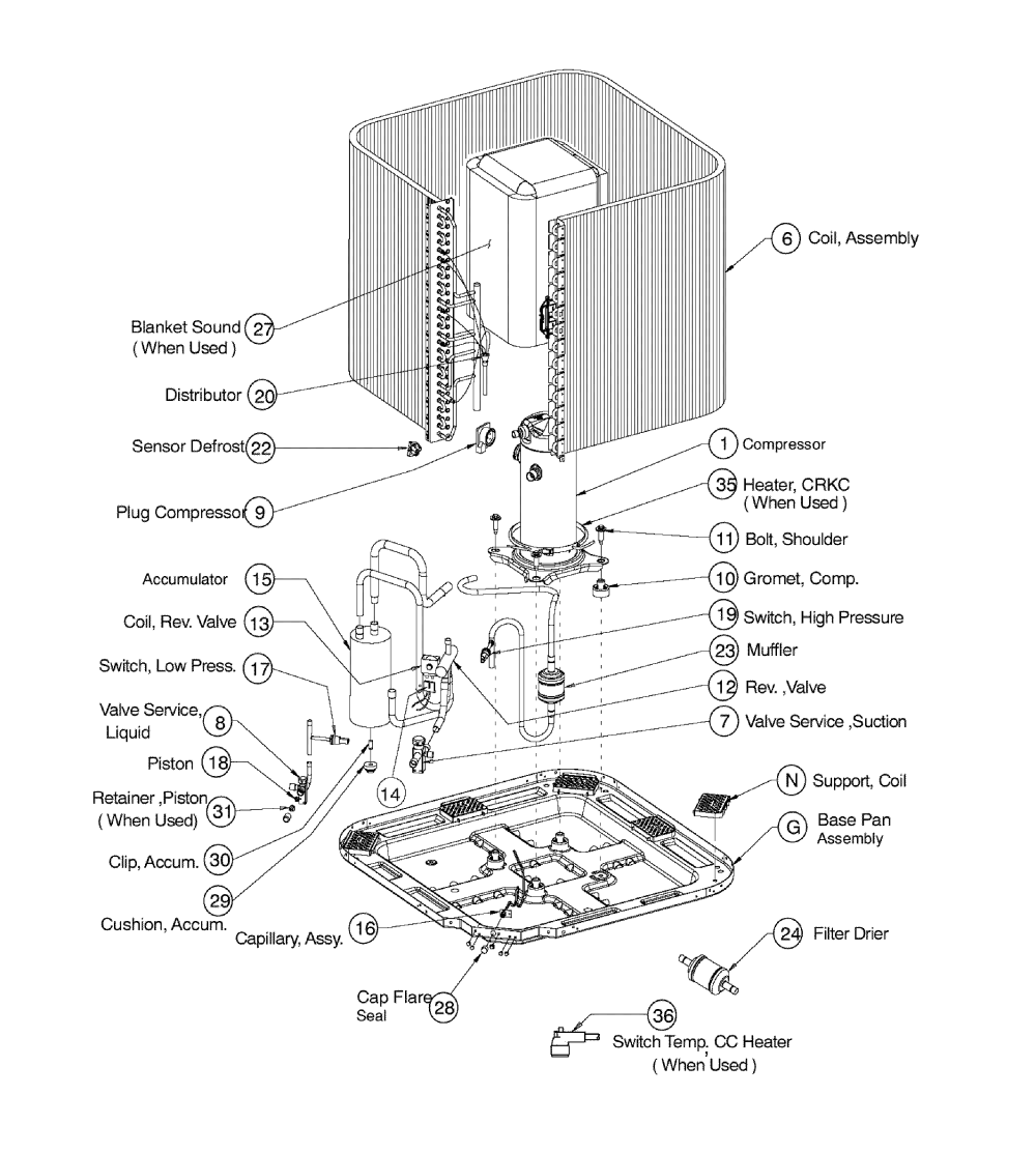 medium resolution of icp model n4h336ake100 air conditioner heat pump outside unit parts of a furnace system ac unit parts diagram
