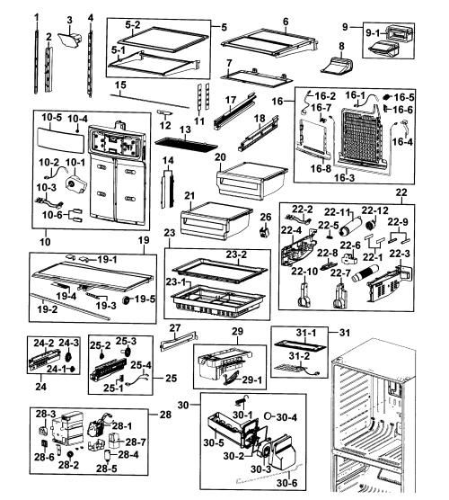 small resolution of samsung model rf4287hars xac bottom mount refrigerator genuine parts rh searspartsdirect com samsung refrigerator parts diagram