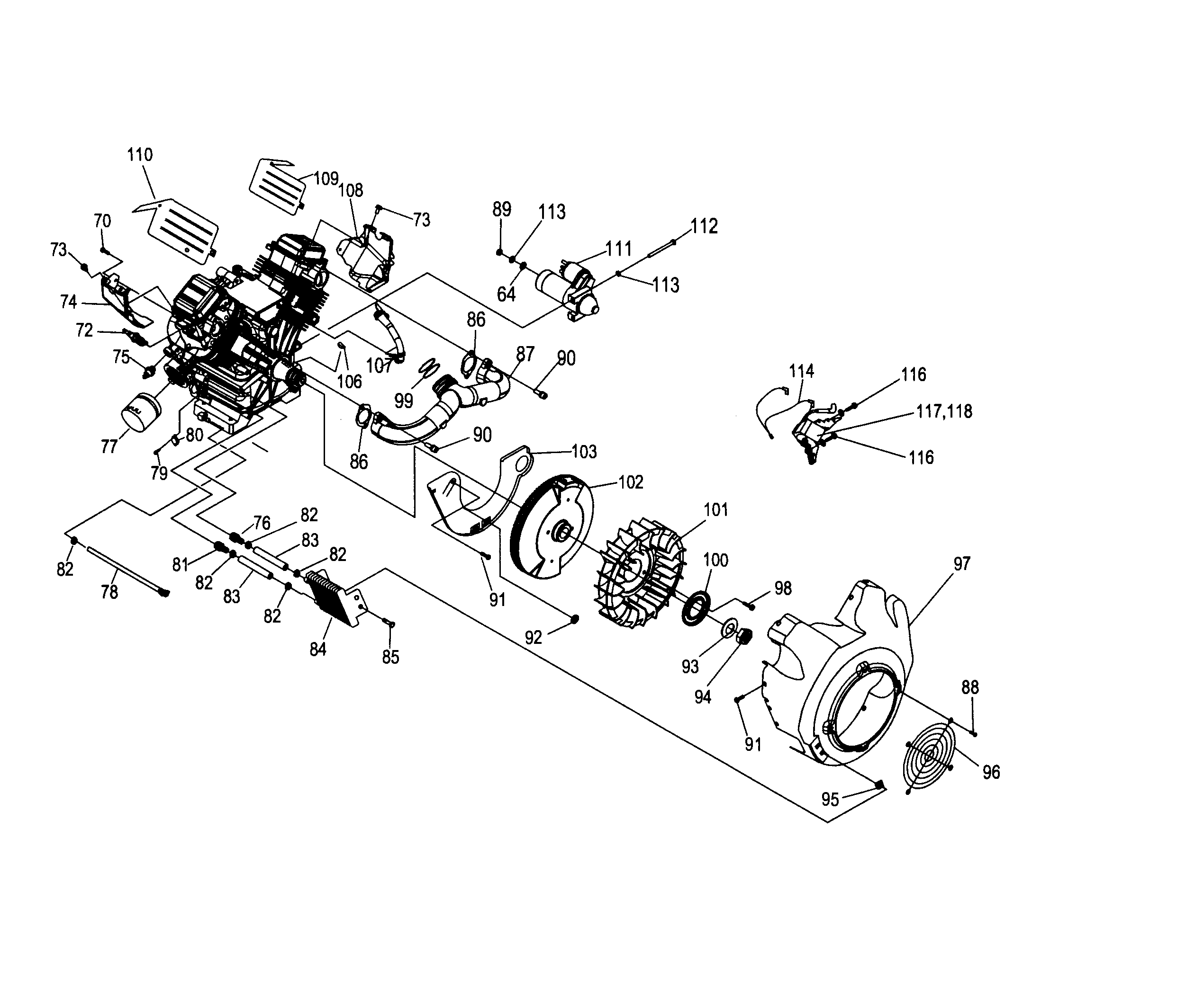 ENGINE 2 Diagram & Parts List for Model 0062410 Generac