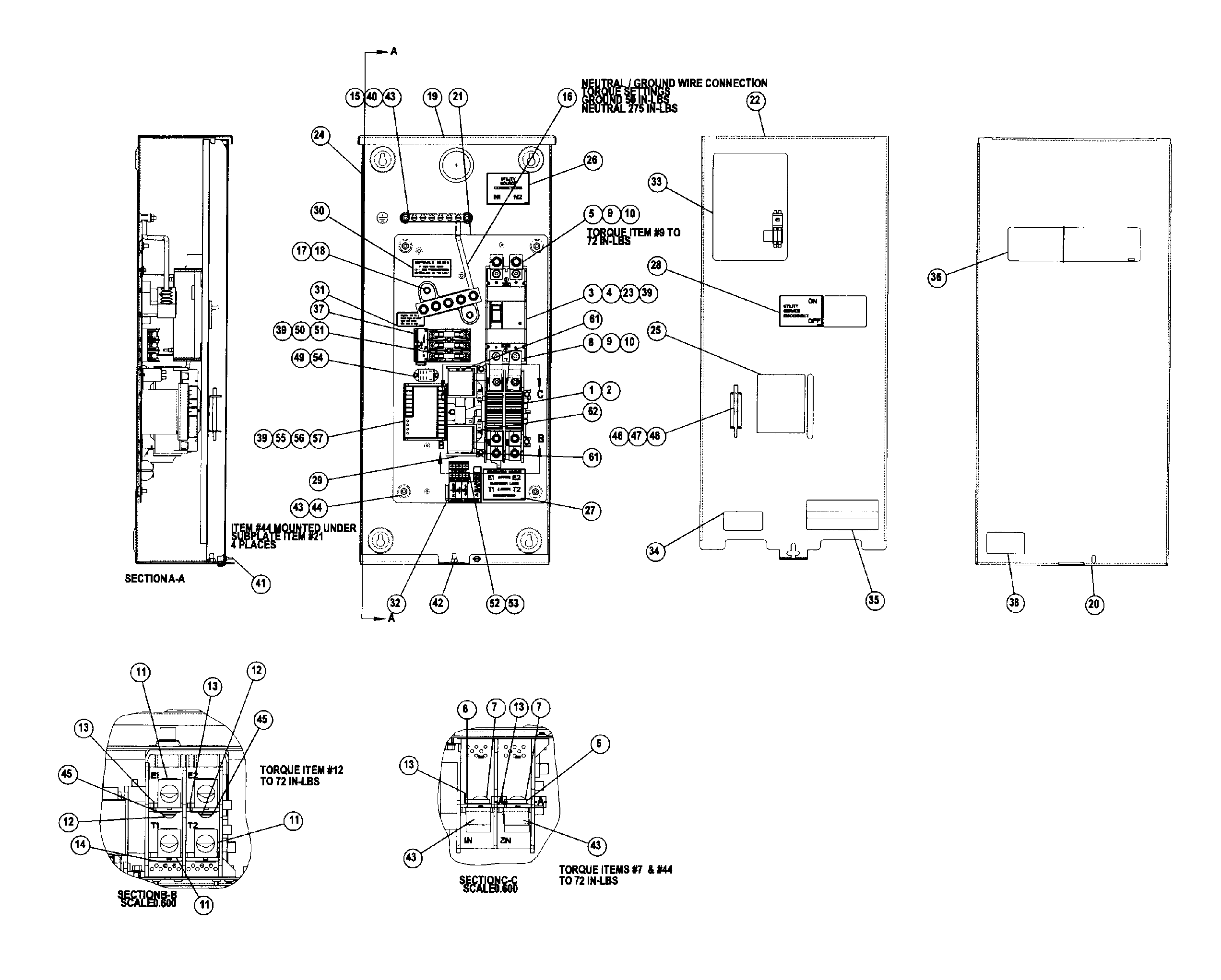 200A ELECTRIC PANEL Diagram & Parts List for Model 0062430