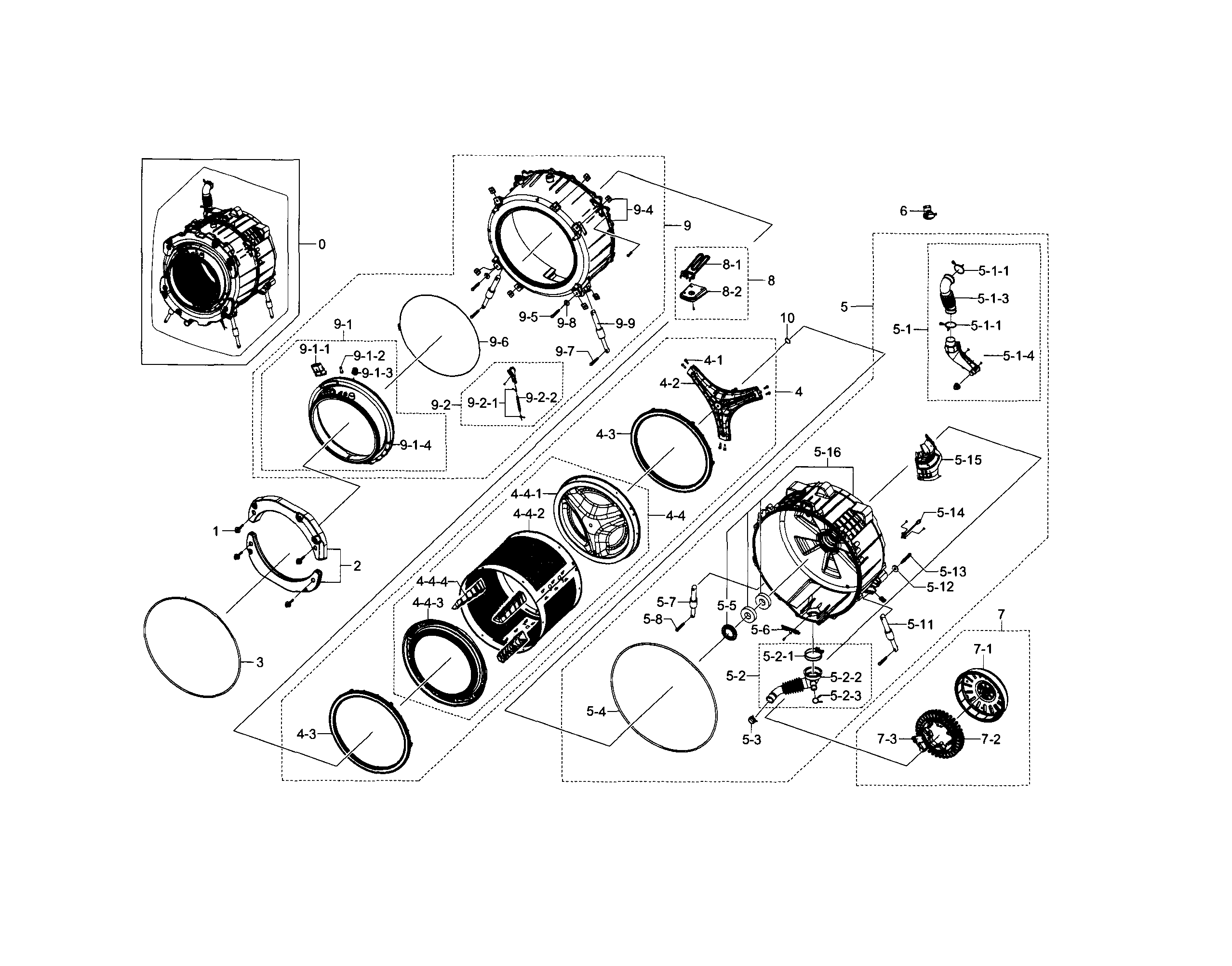 TUB & DRUM Diagram & Parts List for Model wf448aapxaa0005