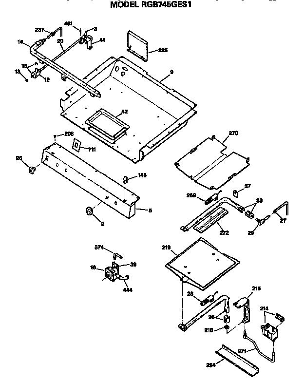 BURNER SECTION Diagram & Parts List for Model rgb745ges1
