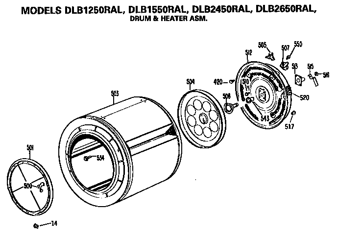 DRUM AND HEATER ASSEMBLY Diagram & Parts List for Model